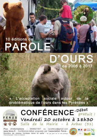 Affiche Conférence 10 éditions de Parole d'ours- Arbas