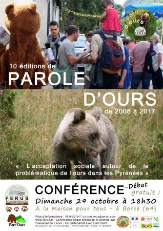 Affiche Conférence 10 éditions de Parole d'ours- Borce